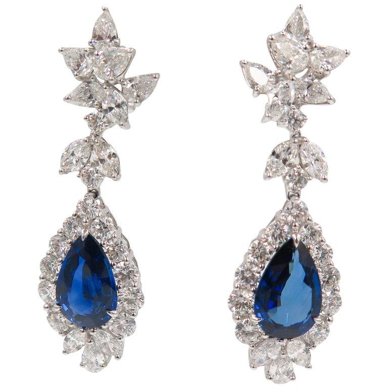 Pear Shaped Sapphire Diamond Drop Earrings