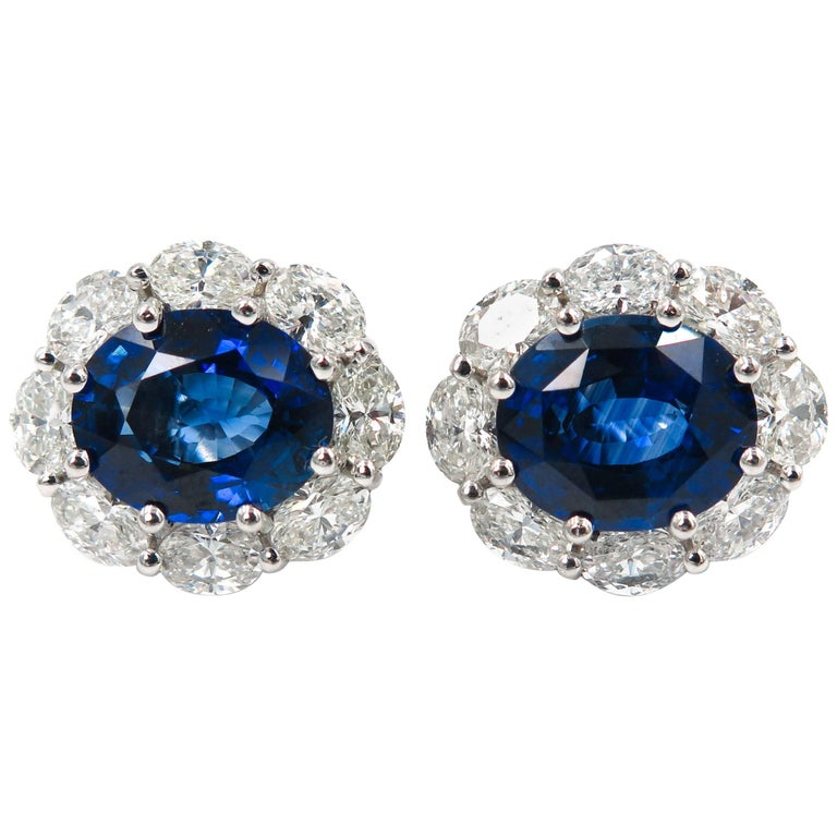 Oval Sapphire Diamond Earrings