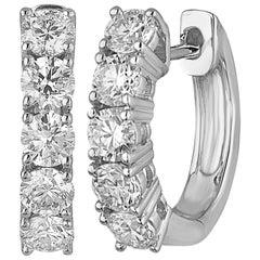 1.50 Carat Petite Diamond Gold Huggie Hoop Earrings