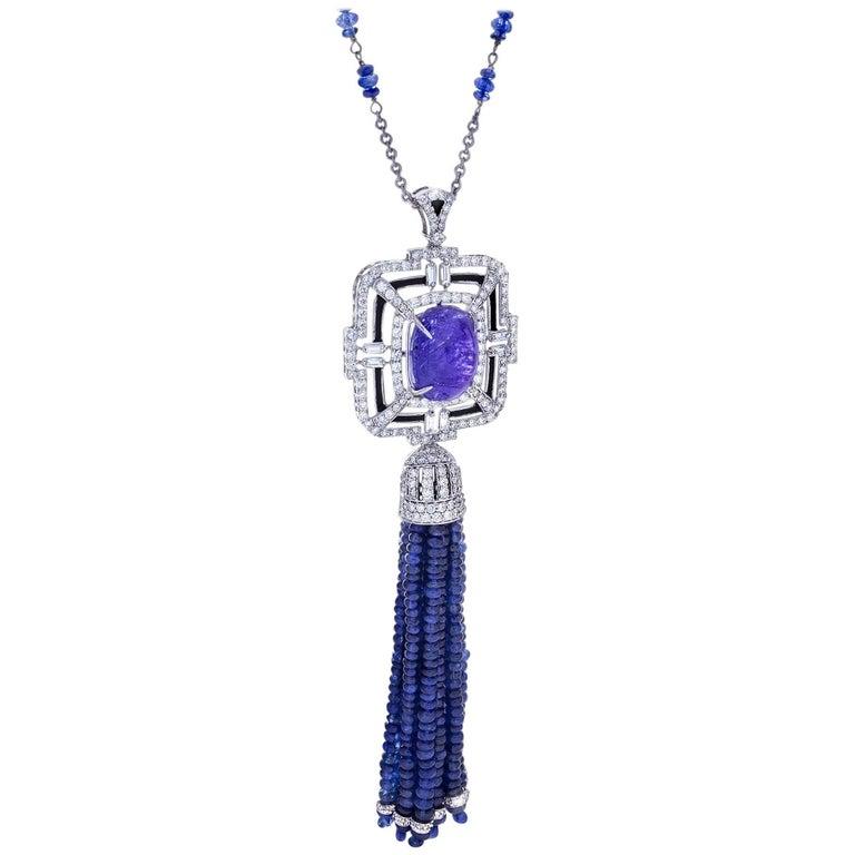Sapphire and Tanzanite Tassel Necklace