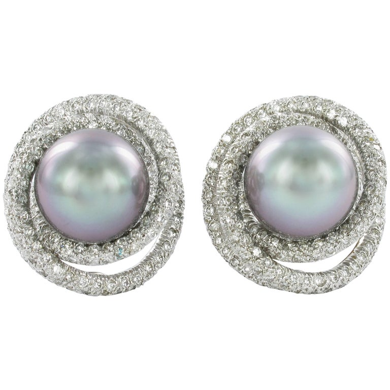 Tahitian Cultured Pearl Diamond Earrings