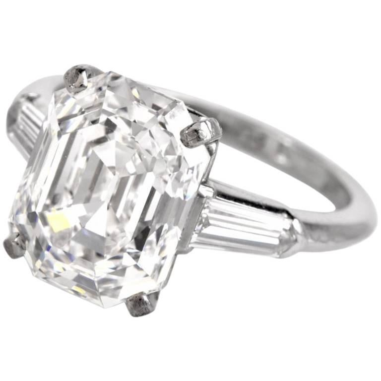Certified F-IF, 5.09 Carat Emerald-Cut Diamond Engagement Ring For Sale