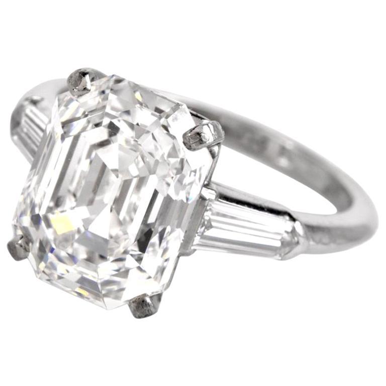 Art Deco 5.39 Asscher Cut 5.09 Carat GIA F-IF Diamond Platinum Engagement Ring For Sale