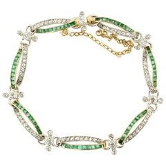 Edwardian Diamond and Emerald Bracelet