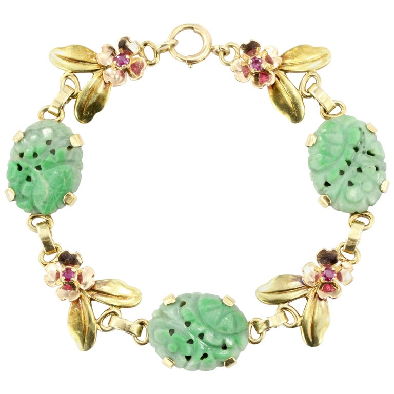 Tiffany & Co. Jade and Ruby Floral Link Bracelet