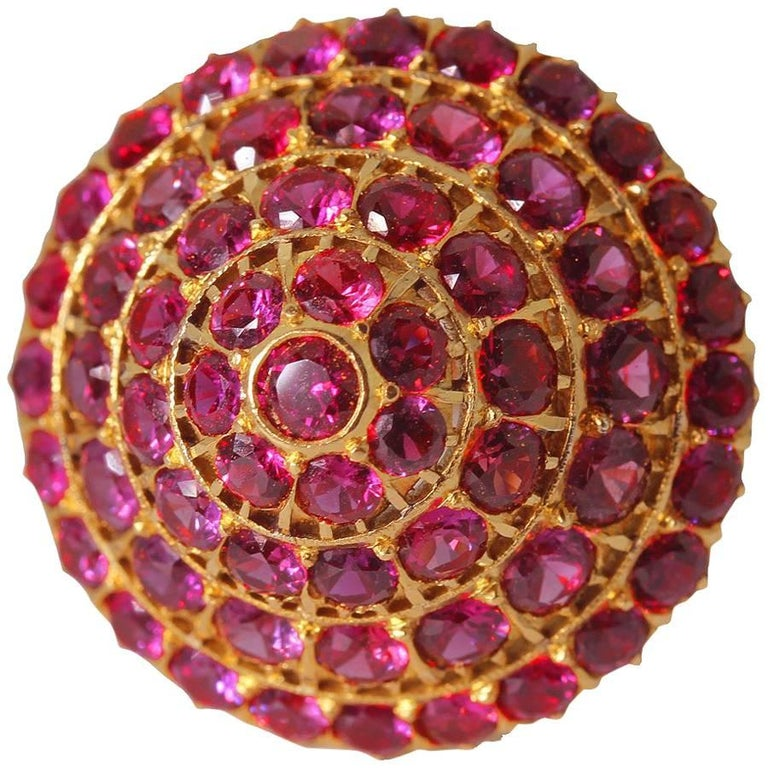 """Ruby """"Siamese Princess"""" 14KT Yellow Gold Ring"""