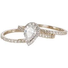 Diamond Halo Engagement Ring and Wedding Band Set 14 Karat Two-Tone Gold