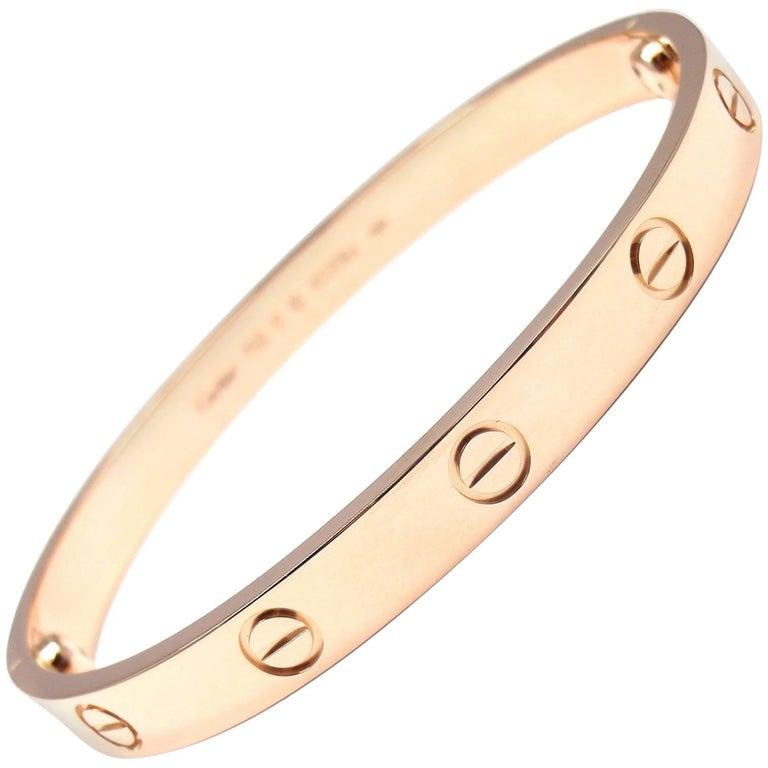 Cartier Love Rose Gold Bangle Bracelet For Sale