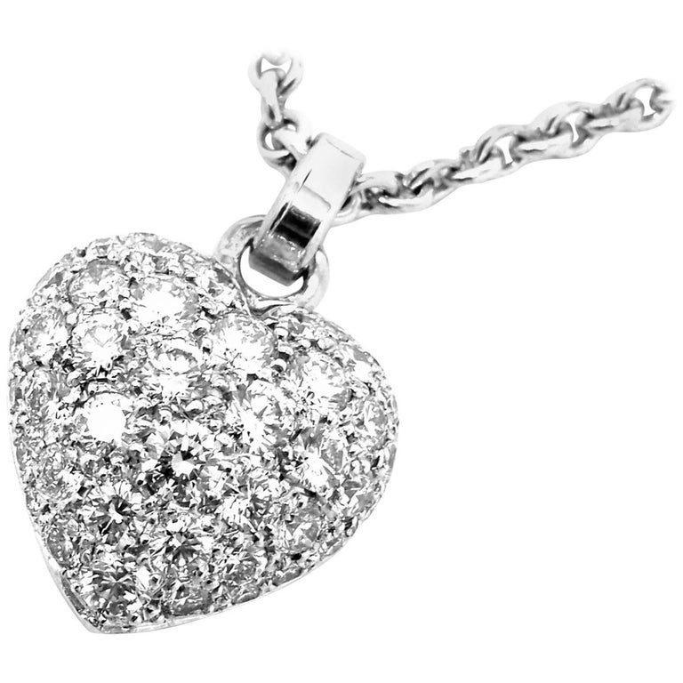 Cartier Diamond Pave Heart White Gold Pendant Necklace