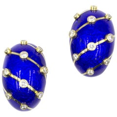 Tiffany & Co. Schlumberger Diamond Blue Enamel Ear Clips
