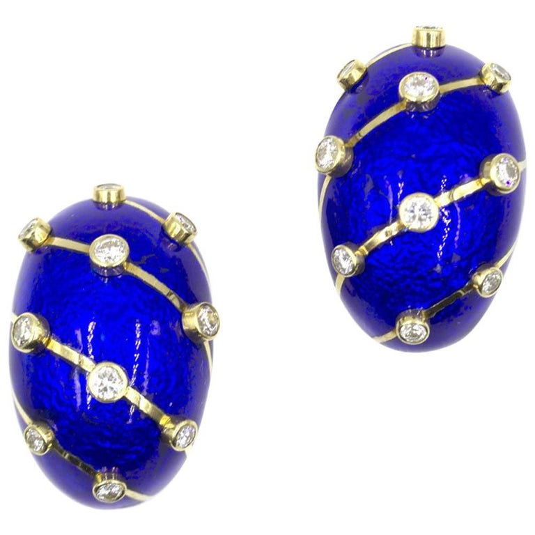Tiffany & Co. Schlumberger Diamond Blue Enamel Ear Clips