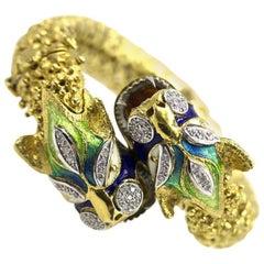 Pave Diamond Enamel Double Serpent Head Bracelet