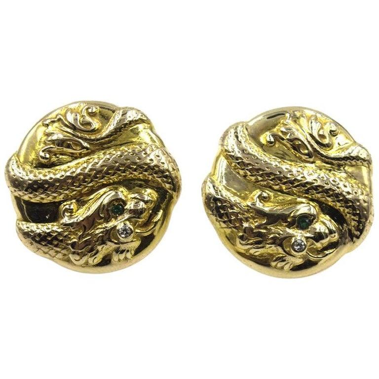 Textured Snake 14 Karat Yellow Gold Earrings