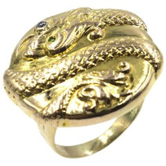 Textured 14 Karat Yellow Gold Snake Ring Diamond Emerald Accent