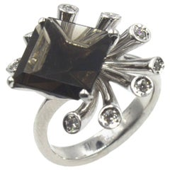 Contemporary Smoky Topaz Diamond 18 Karat White Gold Cocktail Ring