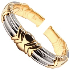 Bulgari Yellow Gold and Stainless Steel Bangle Bracelet