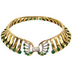 1940s Mellerio Emerald and Diamond Necklace