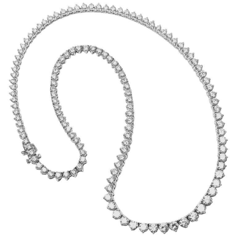 Cartier 13.1 Carat Diamonds Tennis Line Platinum Necklace