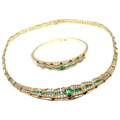 H. Stern Diamond and Emerald Set of Yellow Gold Bracelet and Necklace