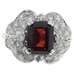 Diamonds and Garnet Cluster Gold Ring