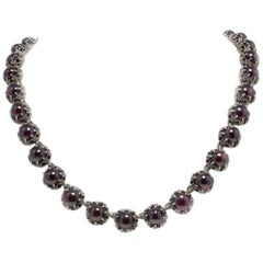 Garnets Rose Gold and Silver Link Necklace
