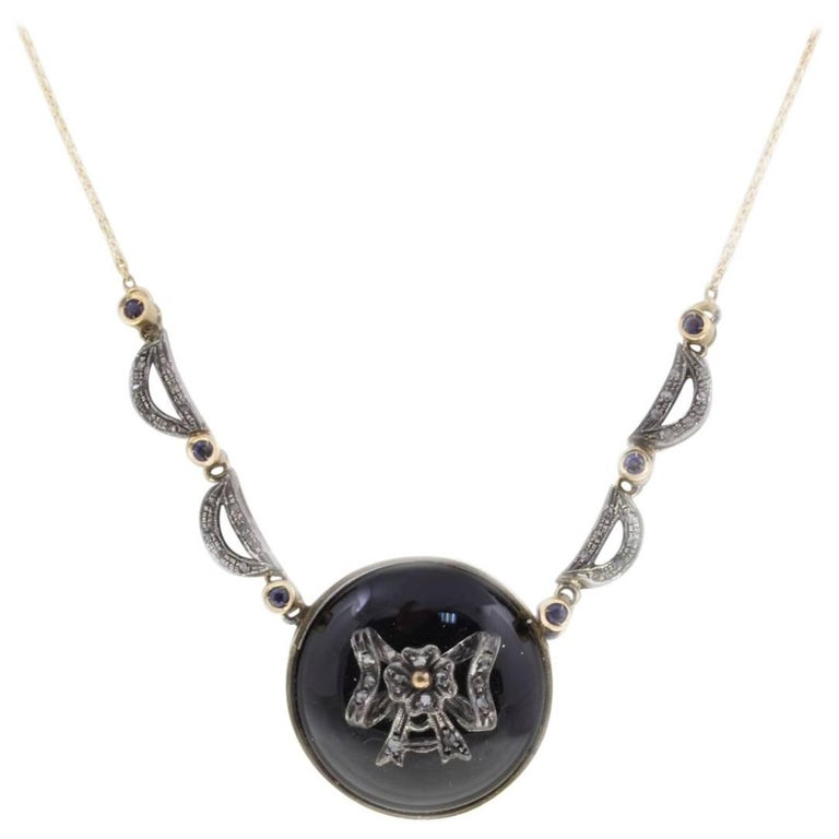 Luise Diamonds Blue Sapphires Onyx Rose Gold Necklace
