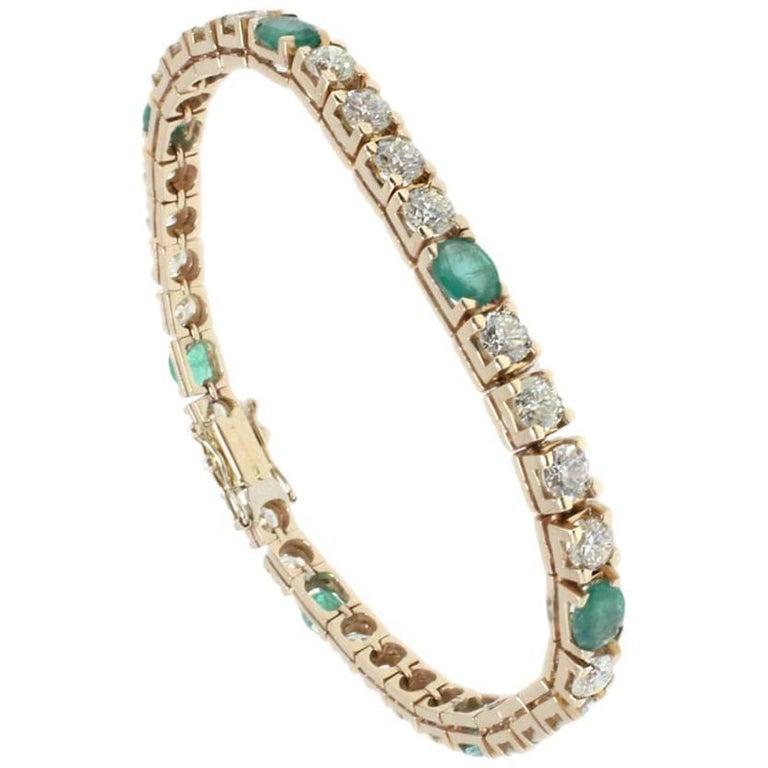 Diamonds and Emeralds Important Rose Gold Tennis Bracelet