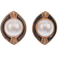 Mabe Pearl Diamond Earrings