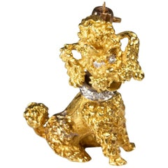 Gold Poodle Dog Pin with Diamond Collar and Eyes