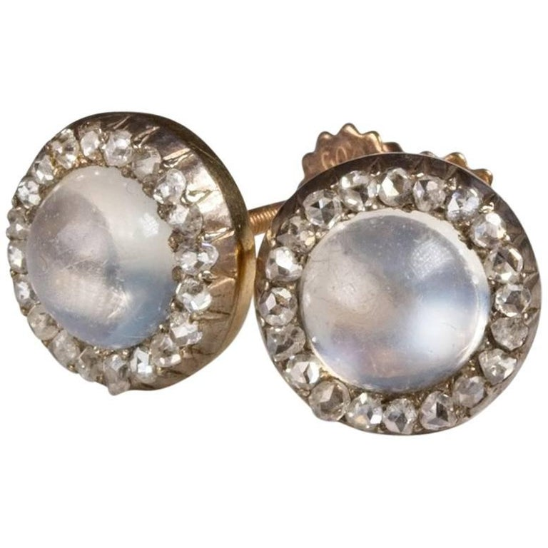 Moonstone Diamond Antique Daisy Cluster Stud Earrings