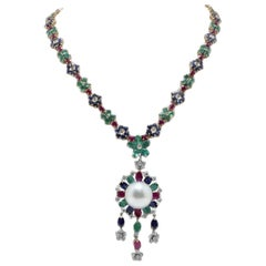 Blue Sapphire, Emeralds, Rubies, Diamonds, Pearl and Gold Necklace