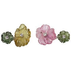Flower Cufflinks in Tourmaline Diamonds and Gold