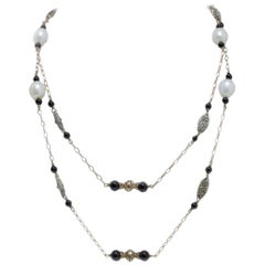 Pearl and Onyx, Gold Necklace