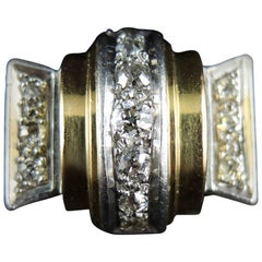 Gold and Platinum Tank Ring with Diamonds, circa 1940