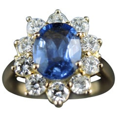 French Cluster Ring, Yellow Gold, Sapphire 0.80 Carat, Diamonds 0.80 Carat