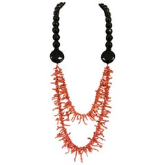 Coral and Onyx Multi-Strand Necklace