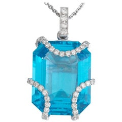 Eli Frei Designer 11 Carat Blue Topaz and Diamond 18 Karat Gold Pendant Necklace