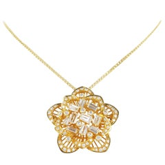Gold Diamond Flower Pendant or Brooch