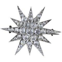 Antique Victorian Silver Paste Star Brooch, circa 1880, Russian