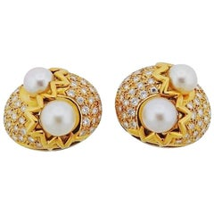 Stunning 1990s 18 Karat Gold Pearl and 2.00 Carat G-H VS Diamond Clip Earrings