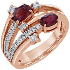 1.44 Carat Burmese Ruby Diamond Rose Gold Cocktail Ring