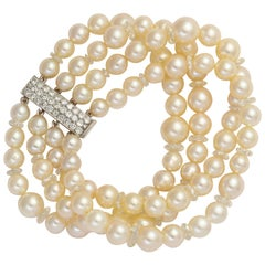Verdura Paris Pearl and Diamond Bracelet