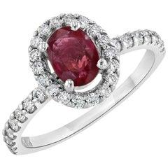 1.19 Carat Burmese Ruby Diamond Engagement Ring