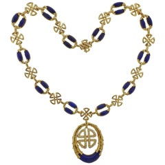 1980s Neiman Marcus Lapis Diamond Gold Pendant Necklace