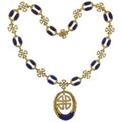 1980s Neiman Marcus Lapis Diamond Gold Pendant Necklace