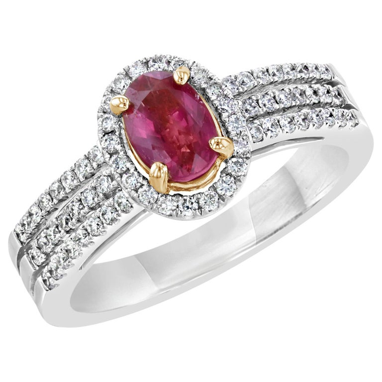 1.14 Carat Burmese Ruby Diamond Engagement Ring