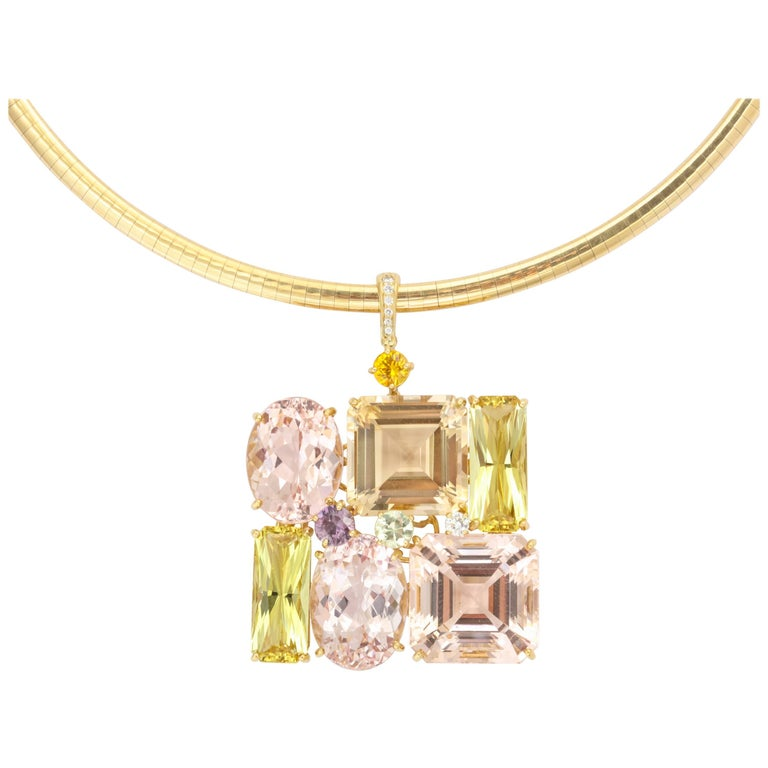Donna Vock Sapphire, Morganite and Golden Beryl Pendant Necklace