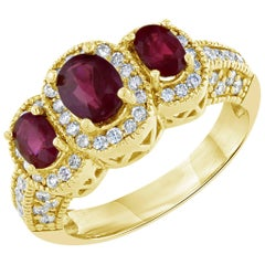 2.29 Carat Burmese Ruby Diamond Three-Stone Ring