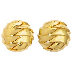 Tiffany & Co. Gold Pleated Clip-On Earrings