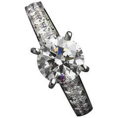Cartier Diamond Platinum Engagement Ring 1.52 Carat GIA Certified